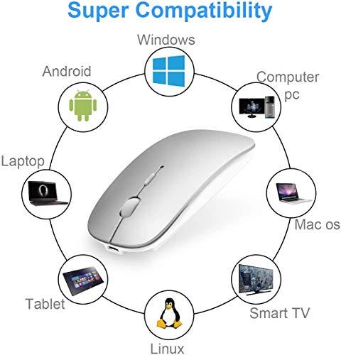 Bluetooth Maus Kabellose kompatibel mit Laptop / iPad / iPhone / Mac (iOS 13.3.2 und höher) / PC / Tablet, Wiederaufladbare Leise Mini Maus für Windows / Linux, 3 DPI Einstellbar Bluetooth 4.0 Silber