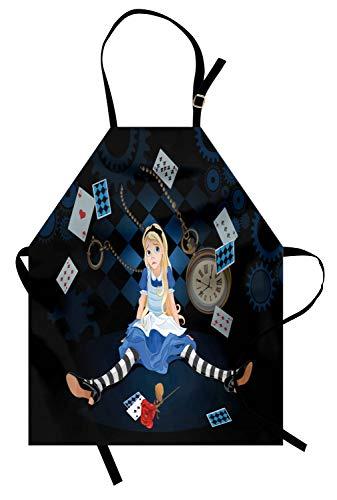 ABAKUHAUS Alice nel Paese delle Meraviglie Grembiule, Rose Fiori, Comodo per la Cucina Unisex con Collo Regolabile per Cucinare Cuocere Arrostire e Giardinaggio, Multicolore