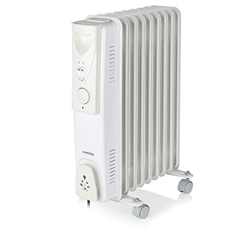 Warmlite WL43004YW Oil Filled Radiator, 3 Heat Settings, Adjustable Thermostat, Overheat Protection, Power Indicator Light, 7 Heated Fins, Easy Glide Castor Wheels, 2000 W White