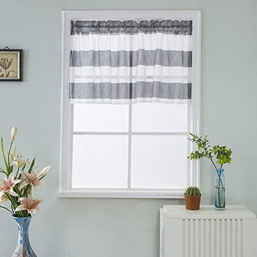 BOYOUTH Semi Shading Grey and White Rugby Stripe Print Rod Pocket Small Window Valance Curtains Drapes for Kitchen Bedroom Living Room Bathroom Nursery Room,29x36-Inches,1 Panel