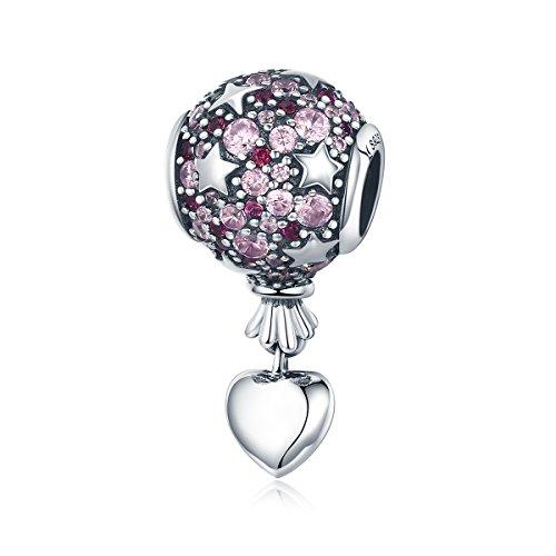 Lily Jewelry - Ciondolo in argento Sterling 925 con mongolfiera, stile romantico, per braccialetti Pandora