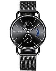 腕時計、メンズ腕時計 クラシック ビジネス ステンレススチールウオッチ サンムーンフェイズダイヤル カレンダー ドレス 防水 時計 メッシュバンド ブラック