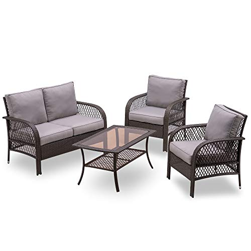 MCombo Wicker Patio Furniture Sofa Set,4 Pieces Outdoor Wicker Chair Cushioned Loveseat, Lawn Gray...