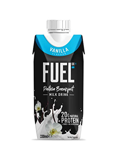 FUEL10K 330ml Vanilla Breakfast Milk Drink - Pack of 8 - High Protein Milkshake