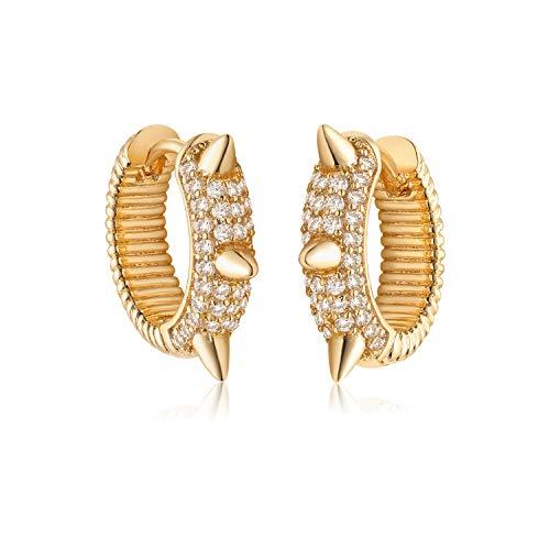 MYEARS Women Gold Huggie Hoop Earrings Diamond CZ Pave Spike Geometric Cone Sleeper Half Twisted Chunky Band 14K Gold Filled Boho Beach Simple Delicate Handmade Hypoallergenic Jewelry Gift