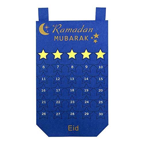 ZYXZXC Calendario De Adviento De RamadáN Calendario para Regalos De Eid Decoraciones De RamadáN,Bolso Colgante del Calendario,30 Estrellas MóViles, Reutilizables,A