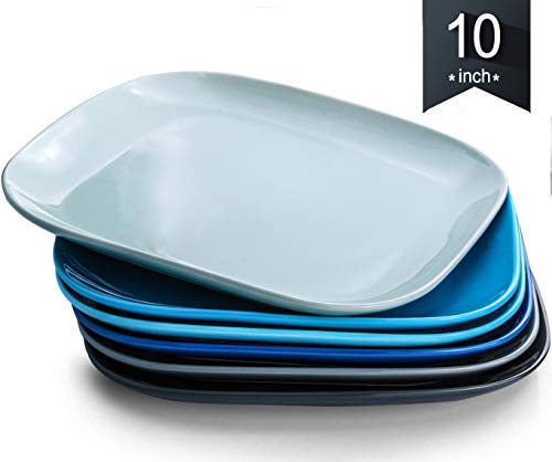 Dinner Plates, KOMUEE Porcelain Square Dinner Plates - 10 Inch - Set of 6, Cool Assorted Colors