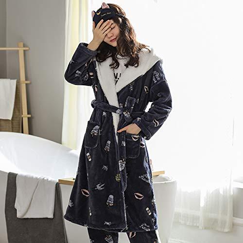 Lange Bademantel für Damen Plüsch-weiche Bademäntel Nightgown Damen Pyjamas Nachtwäsche Morgenmantel,H,M
