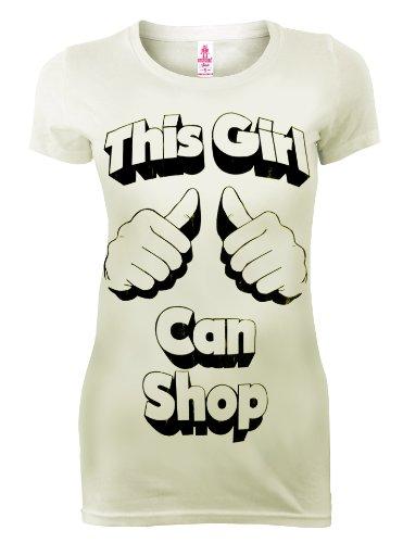 Logoshirt Retro - Camiseta para mujer, diseño con texto 'This Girl CAN Shop, color blanco