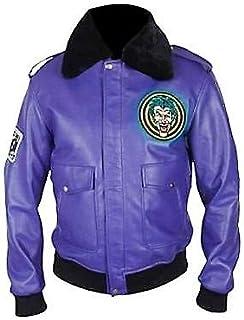 Men's Batman Henchman Joker Goon Purple Bomber Synthetic Leather Jacket