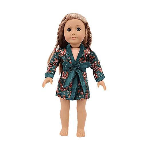 Uteruik Puppen-Nachthemd mit Gürtel für 46 cm große amerikanische Puppe, Custume Outfits Zubehör (#B)