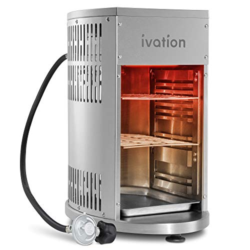 Ivation Infrared Propane Broiler Tabletop Gas Grill 1500°F | Auto Ignition & Heat Control Sear Cook Steak in Seconds | Stainless Steel Removable Parts for Easy Clean | Includes Hose Regulator & Cover Grills Propane