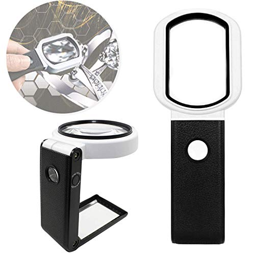 Magnifying Glass with Light, Magnifying Glass with Light and Stand with 10X/25X High Magnification Handheld, Magnifying Glasses Monocle for Eye Magnifying Glass for Reading, Soldering, Jewelry