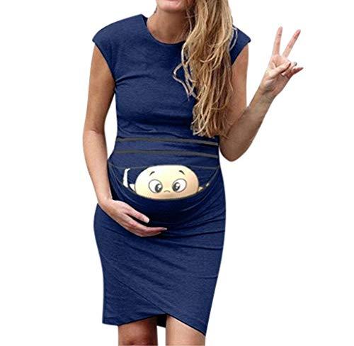 Jimmackey Vestiti Gravidanza Divertenti Abiti Premaman Senza Maniche Infermieristica maternità Canotta Vestiti da Donna Bambino Stampato Vestito Estate Abbigliamento Premaman