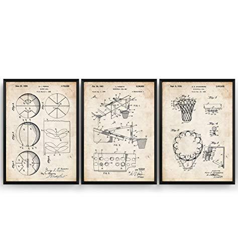 Basketball Patent Poster - Set Of 3 - Jahrgang Drucke Drucken Bild Kunst Geschenke Zum Männer Frau Entwurf Dekor Vintage Art Blueprint Decor - Rahmen Nicht Enthalten