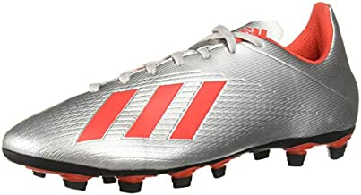 adidas Men's X 19.4 Firm Ground Soccer Shoe, Silver Metallic/hi-res red/Black, 10 M US