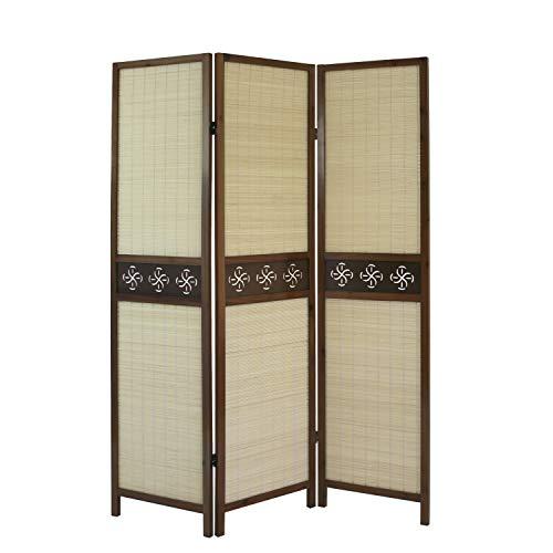 Homestyle4u 903, Paravent Raumteiler 3 teilig, Faltbar Blickdicht, Holz Bambus, Braun