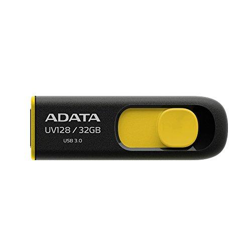 ADATA Classic UV128 USB3.0 Flash Drive 32GB, Black/Yellow (AUV128-32G-RBY)