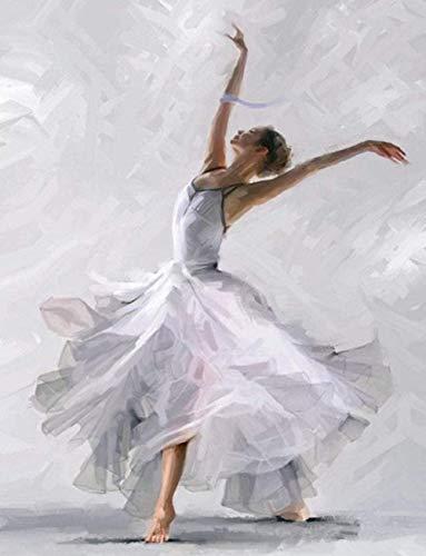 Los principiantes adultos usan números para pintar bailarinas con faldas blancas por números, pinturas al óleo de bricolaje sobre lienzo. -40x50cm