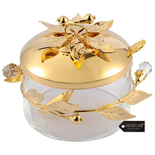 Matashi 24K Gold Plated Sugar Bowl, Honey Dish, Candy Dish Glass Bowl - Flower and Vine Design with Spoon Great Gifts idea for Valentine's Day, Birthday, Mother's Day, Christmas, Anniversary