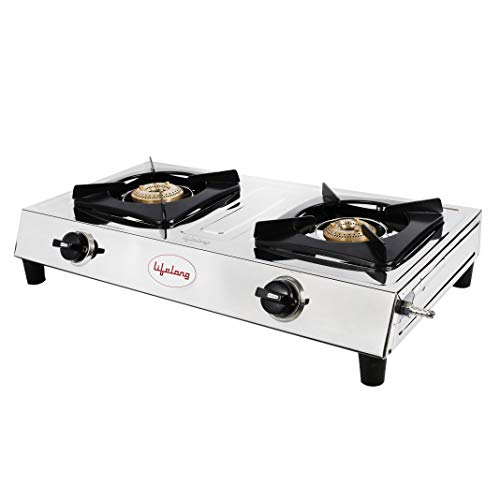 Lifelong Stainless Steel 2 Burner Gas Stove, Silver