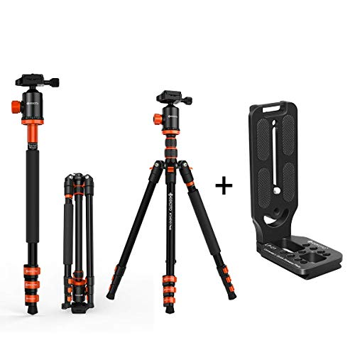 GEEKOTO AT24EVO Aluminum Tripod, 77in Camera Tripod for DSLR with GEEKOTO L-Shaped Quick Release Plate Aluminum Bracket - Black