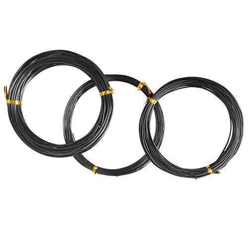 LEEQ 30 Metros de Cables de Entrenamiento de árboles, Cable Negro de Bonsai, Cable Artesanal, Cable de Aluminio, Cable de jardín, 1.0 mm / 1.5 mm / 2.0 mm (Cada tamaño 10 m / 32 pies)