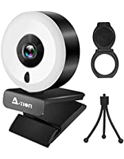 A-TION Webcam PC with Microphone, 1080P Webcam with Microphone and Light Ring for PC, Comes with a Portable Mini Tripod and a Privacy Cover for Youtube, Skype, Video Conference and Video Calls