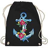 Shirtracer Kunst & Kreativität - Blauer Anker mit Blumen - Unisize - Schwarz - turnbeutel mit blumen - WM110 - Turnbeutel und Stoffbeutel aus Baumwolle