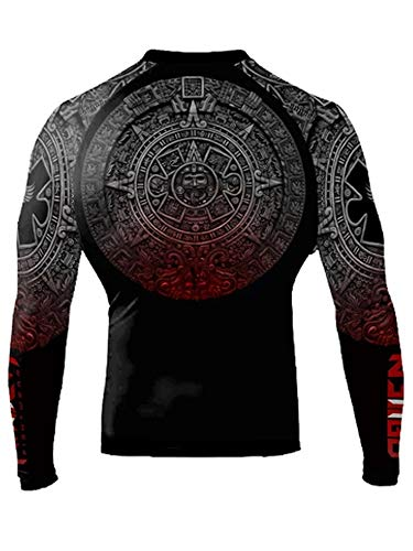 Raven Fightwear Men's Aztec Ranked Rash Guard MMA BJJ Black Medium