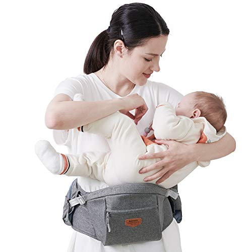 SUNVENO Baby Carrier Hip Seat Ergonomic, Infant Waist Carrier Newborn Waist Stool Baby Carrier with Seat Baby Front Carrier, Grey