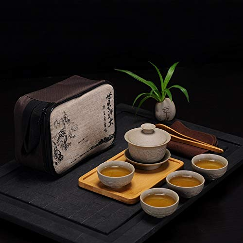 XinQuan Wang Travel Tea Set draagbare outdoor steengoed pot met vier koppen droge bol keramiek theepot kung fu bamboedienblad (Color : 9 pieces of Dragon Bowl)