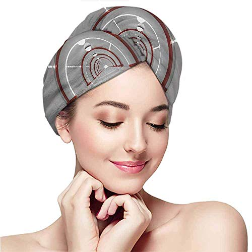 RTFGH Cappellino per capelli asciutti Patterned dry hair cap,Outer Space,Station with the Clean Walls Featured Surface Alien Astronomy Big Bang Ship,White Red