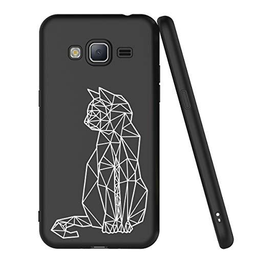Zhuofan Plus Cover Samsung Galaxy J3 2016, Custodia Silicone Nero Soft Tpu Gel con Design Print Pattern Antigraffio Antiurto Protactive Cover per Samsung Galaxy J3 2016, Gatto