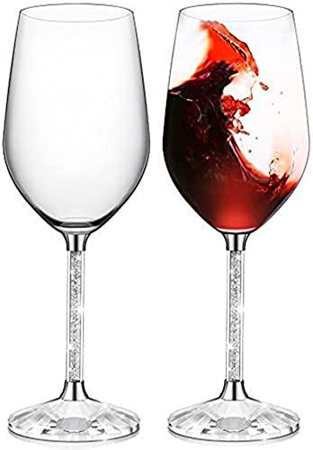 Erwei IFOLAINA Rotweingläser Set mit 2 bleifreien 15 Unzen Stielgläsern mit langem Kristalldiamantstiel - Geburtstags-, Jubiläums- oder Hochzeitsgeschenke