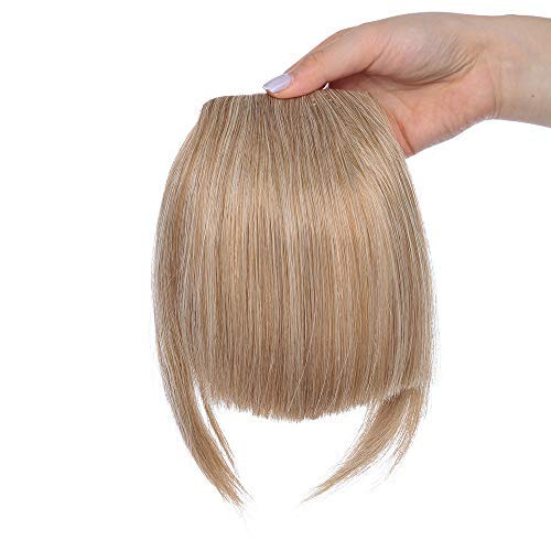 Clip in Pony Haarteil Extensions Fringe Bangs One Piece In Front Hair Verlängerung wie Echthaar Hellaschbraun Mix Gebleichtes Blond