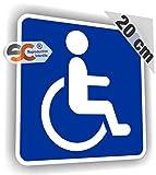 Sticker Handicap Carré Bleu - Autocollant Handicapé (20 cm / 20 cm)