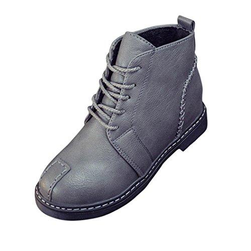 sukeq Frau fashion Charming Leder Schuhe Schnürer low Heels Stiefelette, grau