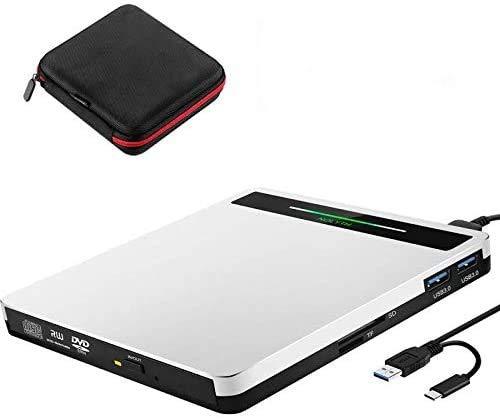 External CD Drive,USB 3.0 Type-C CD DVD RW Reader Rewriter with SD TF Card Reader USB Port, Super drive for Laptop Desktop PC Windows