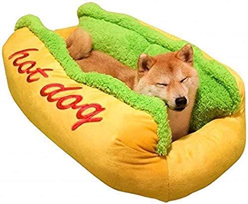 tanggo ペットベッド 犬 猫 ホットドッグ 犬小屋 洗える 可愛い ベッド クッション 2点セット 柔らか ペット用ハウス モフモフ あったか ペット用ソファー ねこ 中型犬 小型犬 (59cmx50cmx23cm)