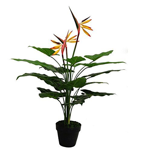 Planta Artificial Grande de pájaro del paraíso 70 cm, Color Amarillo