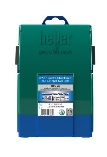 Heller Tools 219624' 990' Drill Bit of Stainless Steel/Cobalt/HSS, Silver, Set of 19 Pieces