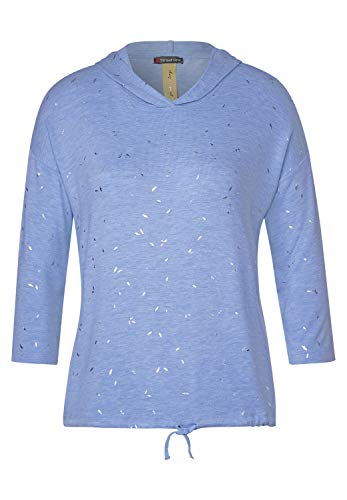 Street One Damen Shirt mit Kapuze Vapor Blue Melange 38