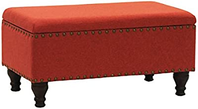 Svitlife Red Linen Nailhead Trim Storage Bench Leather Extra Seating Tufted  Gray Blake Nail Head Linen