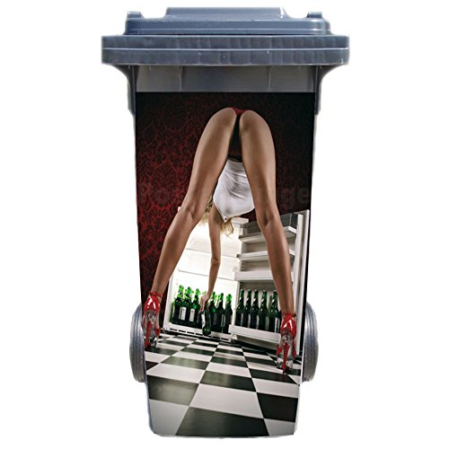 SHIRT-TO-GO Aufkleber für Mülltonne Mülltonnenaufkleber - Motiv Bier Steht unten