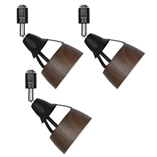 共同照明 3個セット ダクトレールライト ライティングレール用スポットライト E26 ブラウン GT-GD-E26DB-3B 木紋入 北欧 led対応 間接照明 天井 照明器具 レール用照明 ダイニング リビング用 居間用 電球別売り