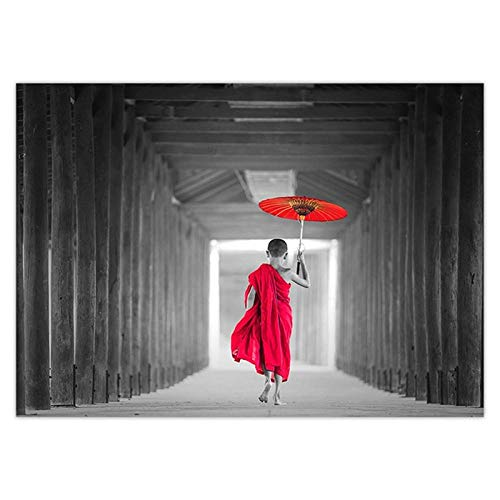 wZUN Carteles e Impresiones de Paraguas Rojos, Carteles Decorativos escandinavos de Arte nórdico, Pintura en Lienzo para Sala de Estar, Pinturas murales 60x80cm Sin Marco