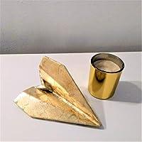 Avión de estilo origami con acabado metal dorado en resina cerámica gris, Barcelona, navidad, regalo, decoración...