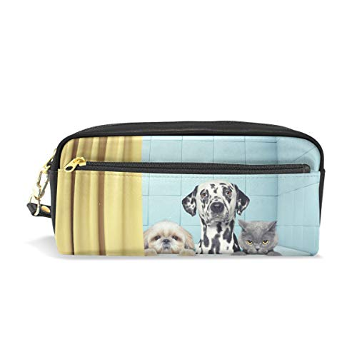 Federmäppchen für zwei Hunde und Katzen in der Badewanne, Federmäppchen Tasche mit Reißverschluss Mädchen Große Make-up-Tasche Organizer mit Fächern