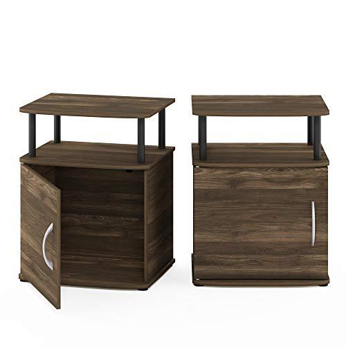 Furinno Jaya End Side Sofa Table/Nightstand with Door, 2-Pack, Columbia Walnut/Black
